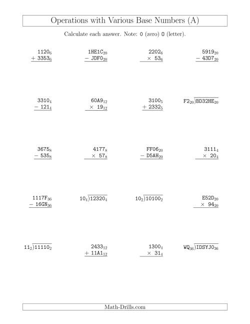 The All Operations with Various Base Numbers (A) Math Worksheet
