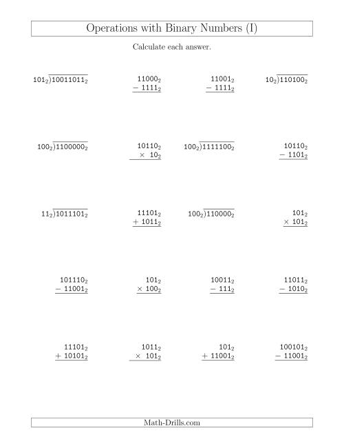The All Operations with Binary Numbers (Base 2) (I) Math Worksheet