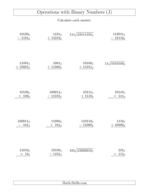 The All Operations with Binary Numbers (Base 2) (J) Math Worksheet