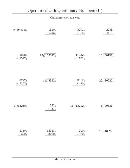 The All Operations with Quaternary Numbers (Base 4) (H) Math Worksheet