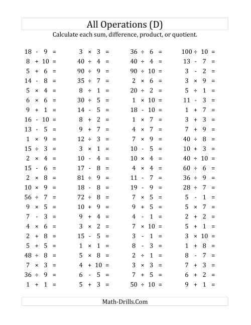 The 100 Horizontal Mixed Operations Questions (Facts 1 to 10) (D) Math Worksheet