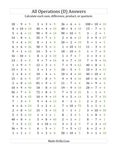 The 100 Horizontal Mixed Operations Questions (Facts 1 to 10) (D) Math Worksheet Page 2