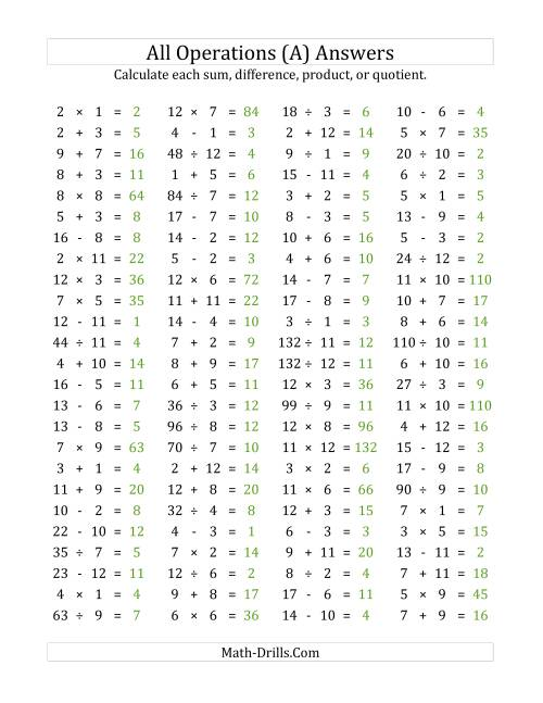 100 Horizontal Mixed Operations Questions (Facts 1 to 12) (A)