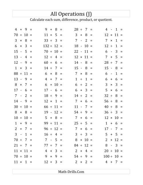 The 100 Horizontal Mixed Operations Questions (Facts 1 to 12) (J) Math Worksheet