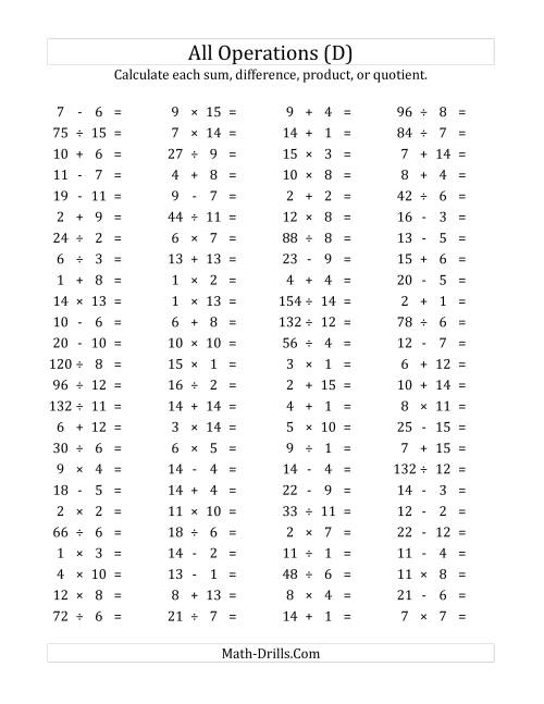 The 100 Horizontal Mixed Operations Questions (Facts 1 to 15) (D) Math Worksheet