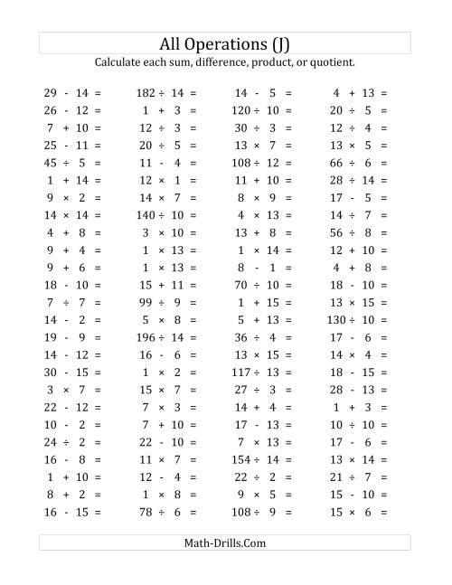 The 100 Horizontal Mixed Operations Questions (Facts 1 to 15) (J) Math Worksheet