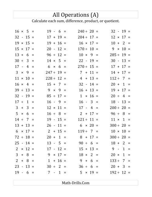 The 100 Horizontal Mixed Operations Questions (Facts 1 to 20) (A) Math Worksheet
