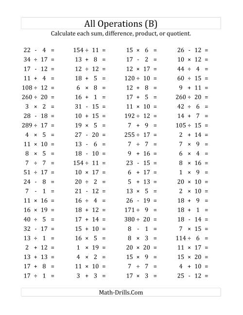 The 100 Horizontal Mixed Operations Questions (Facts 1 to 20) (B) Math Worksheet
