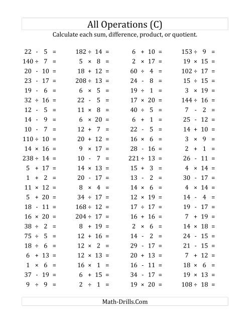 The 100 Horizontal Mixed Operations Questions (Facts 1 to 20) (C) Math Worksheet