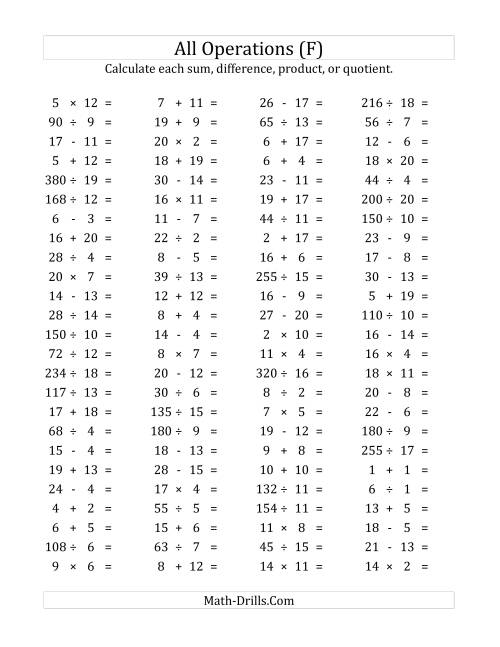 The 100 Horizontal Mixed Operations Questions (Facts 1 to 20) (F) Math Worksheet