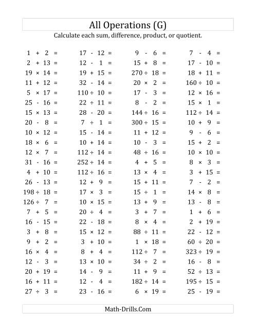 The 100 Horizontal Mixed Operations Questions (Facts 1 to 20) (G) Math Worksheet