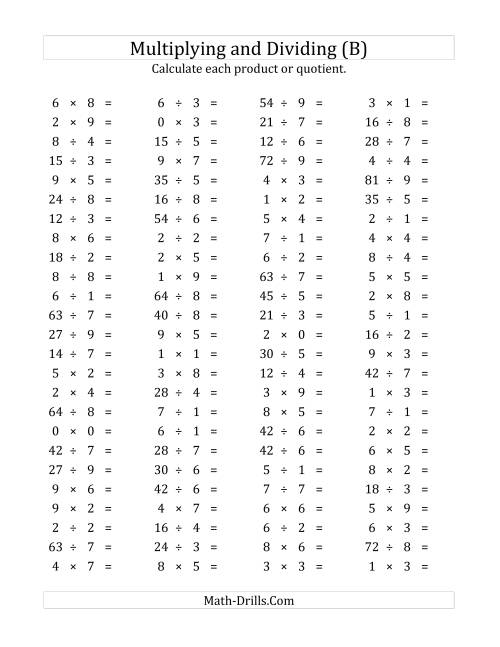 The 100 Horizontal Multiplication/Division Questions (Facts 0 to 9) (B) Math Worksheet