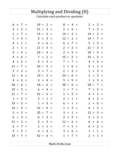 The 100 Horizontal Multiplication/Division Questions (Facts 1 to 7) (H) Math Worksheet