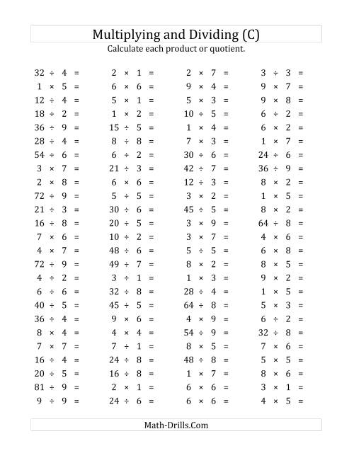 The 100 Horizontal Multiplication/Division Questions (Facts 1 to 9) (C) Math Worksheet