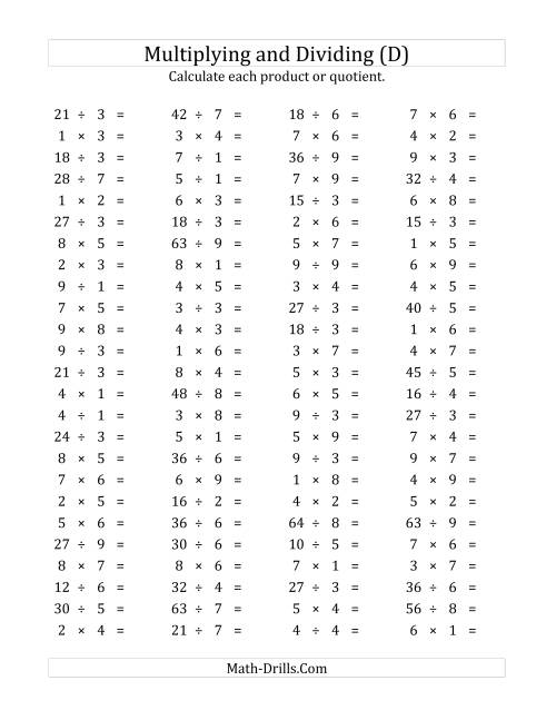 The 100 Horizontal Multiplication/Division Questions (Facts 1 to 9) (D) Math Worksheet