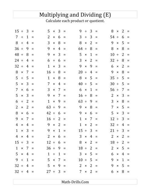 The 100 Horizontal Multiplication/Division Questions (Facts 1 to 9) (E) Math Worksheet