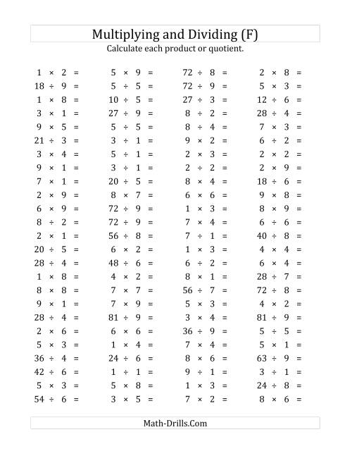 The 100 Horizontal Multiplication/Division Questions (Facts 1 to 9) (F) Math Worksheet