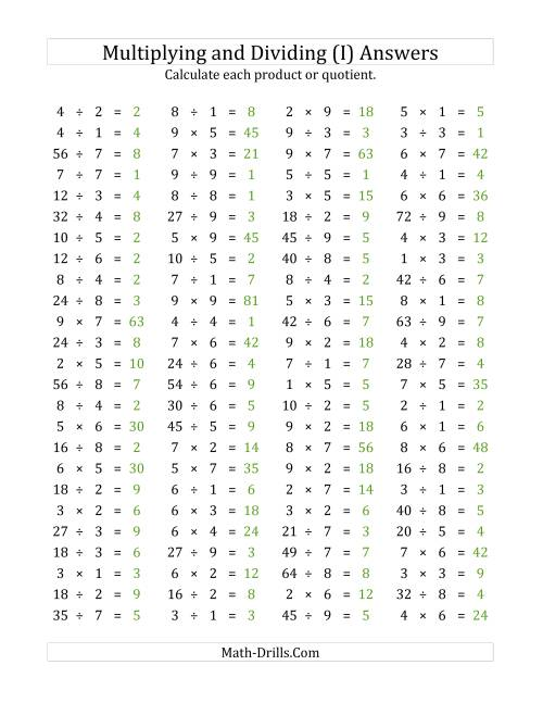 The 100 Horizontal Multiplication/Division Questions (Facts 1 to 9) (I) Math Worksheet Page 2