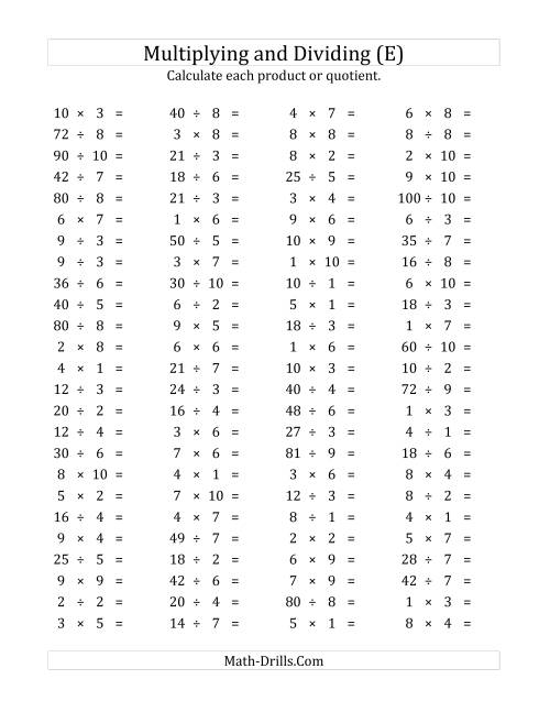 The 100 Horizontal Multiplication/Division Questions (Facts 1 to 10) (E) Math Worksheet