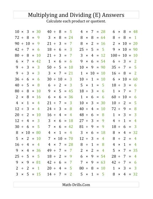 The 100 Horizontal Multiplication/Division Questions (Facts 1 to 10) (E) Math Worksheet Page 2