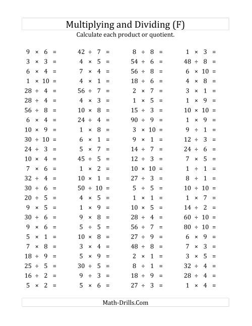 100 Horizontal Multiplication/Division Questions (Facts 1 ...