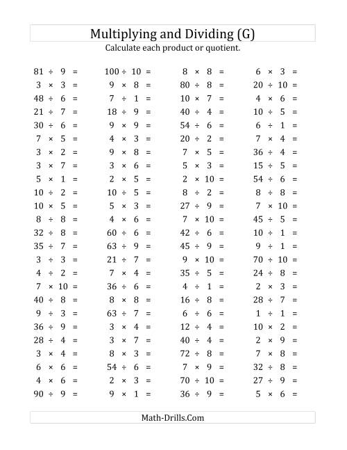 The 100 Horizontal Multiplication/Division Questions (Facts 1 to 10) (G) Math Worksheet