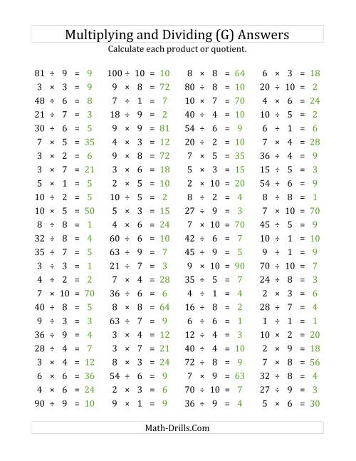 The 100 Horizontal Multiplication/Division Questions (Facts 1 to 10) (G) Math Worksheet Page 2