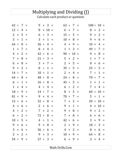 The 100 Horizontal Multiplication/Division Questions (Facts 1 to 10) (J) Math Worksheet
