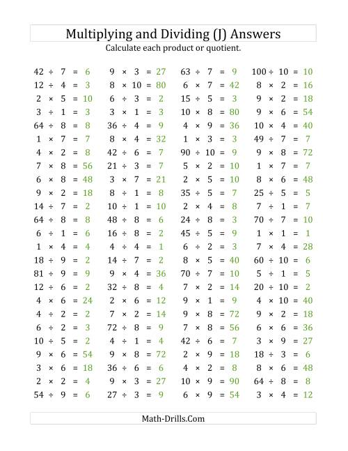 The 100 Horizontal Multiplication/Division Questions (Facts 1 to 10) (J) Math Worksheet Page 2