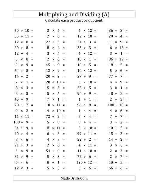 The 100 Horizontal Multiplication/Division Questions (Facts 1 to 12) (A) Math Worksheet