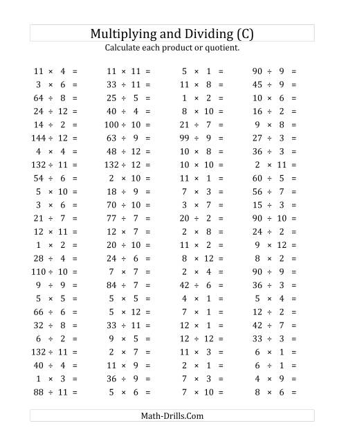 The 100 Horizontal Multiplication/Division Questions (Facts 1 to 12 ...