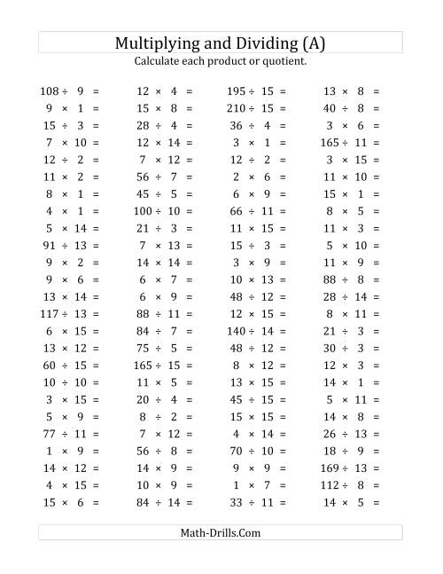The 100 Horizontal Multiplication/Division Questions (Facts 1 to 15) (A) Math Worksheet