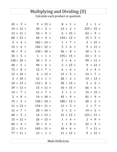 The 100 Horizontal Multiplication/Division Questions (Facts 1 to 15) (D) Math Worksheet