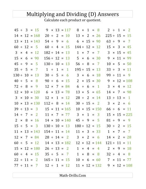 The 100 Horizontal Multiplication/Division Questions (Facts 1 to 15) (D) Math Worksheet Page 2
