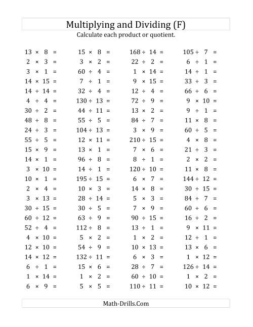The 100 Horizontal Multiplication/Division Questions (Facts 1 to 15) (F) Math Worksheet
