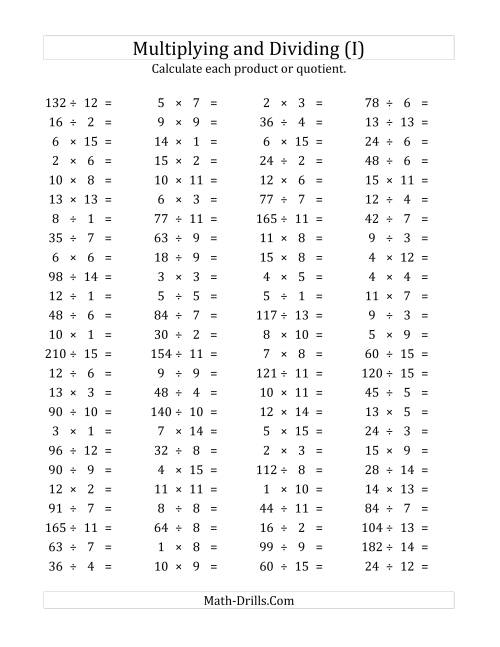 The 100 Horizontal Multiplication/Division Questions (Facts 1 to 15) (I) Math Worksheet