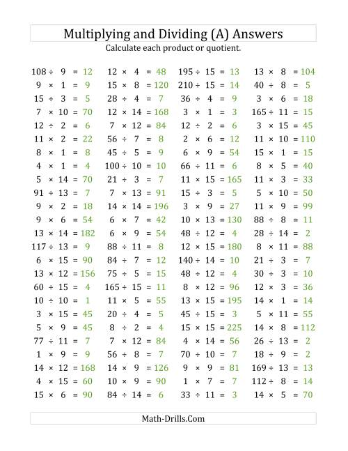The 100 Horizontal Multiplication/Division Questions (Facts 1 to 15) (All) Math Worksheet Page 2