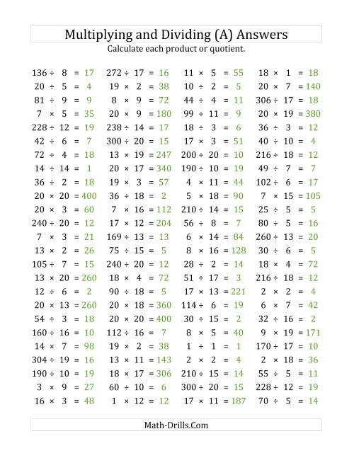 The 100 Horizontal Multiplication/Division Questions (Facts 1 to 20) (A) Math Worksheet Page 2