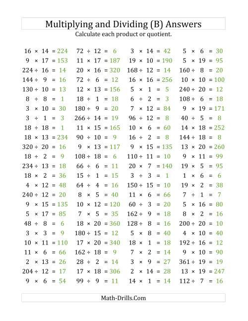 The 100 Horizontal Multiplication/Division Questions (Facts 1 to 20) (B) Math Worksheet Page 2