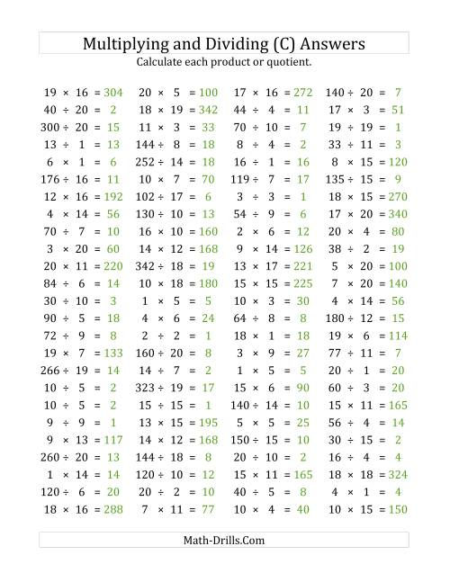 The 100 Horizontal Multiplication/Division Questions (Facts 1 to 20) (C) Math Worksheet Page 2