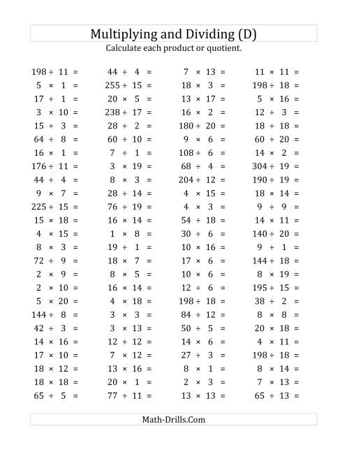 The 100 Horizontal Multiplication/Division Questions (Facts 1 to 20) (D) Math Worksheet