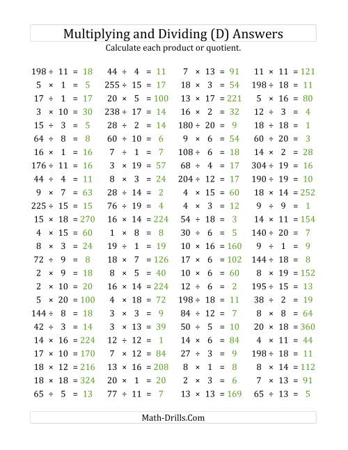 The 100 Horizontal Multiplication/Division Questions (Facts 1 to 20) (D) Math Worksheet Page 2