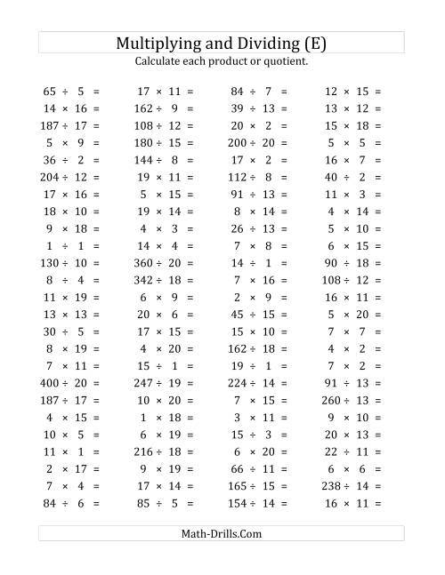 The 100 Horizontal Multiplication/Division Questions (Facts 1 to 20) (E) Math Worksheet