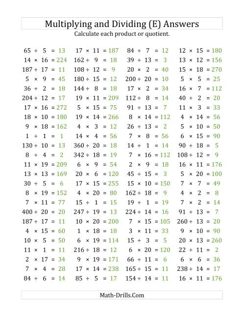 The 100 Horizontal Multiplication/Division Questions (Facts 1 to 20) (E) Math Worksheet Page 2