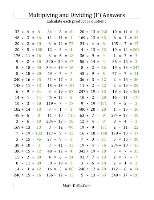 The 100 Horizontal Multiplication/Division Questions (Facts 1 to 20) (F) Math Worksheet Page 2