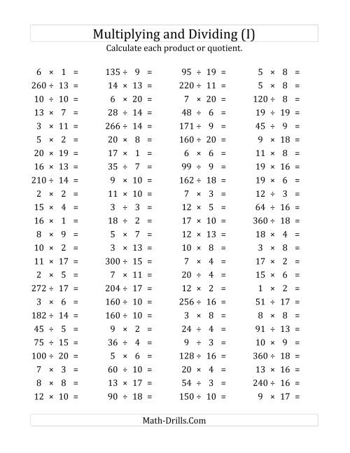 The 100 Horizontal Multiplication/Division Questions (Facts 1 to 20) (I) Math Worksheet