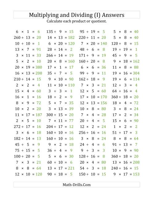 The 100 Horizontal Multiplication/Division Questions (Facts 1 to 20) (I) Math Worksheet Page 2
