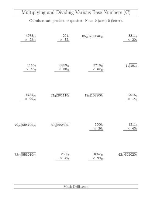 The Multiplying and Dividing Various Base Numbers (C) Math Worksheet