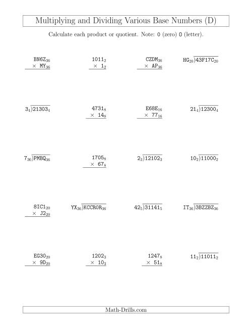The Multiplying and Dividing Various Base Numbers (D) Math Worksheet