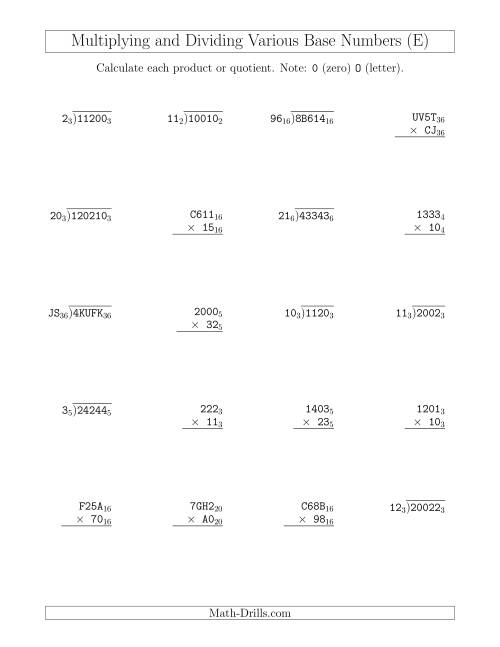 The Multiplying and Dividing Various Base Numbers (E) Math Worksheet